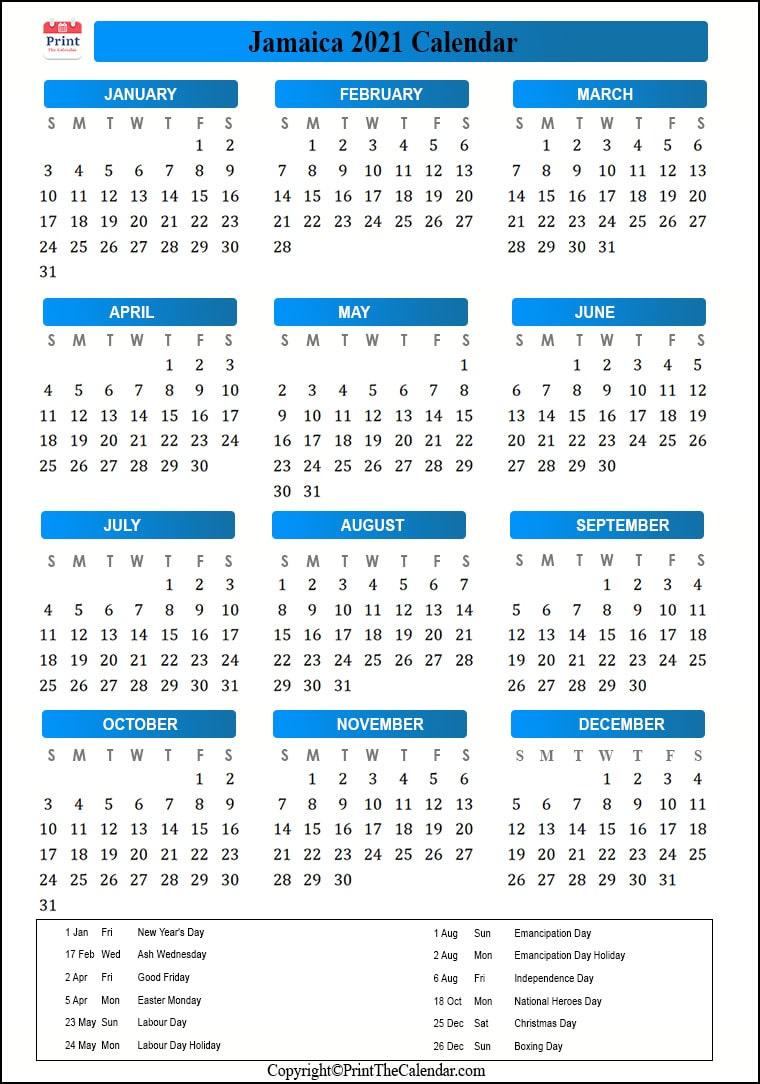Jamaica Holidays 2021 2021 Calendar with Jamaica Holidays