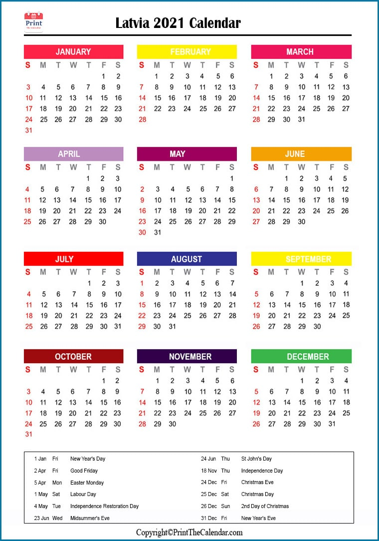 Latvia Printable Calendar 2021