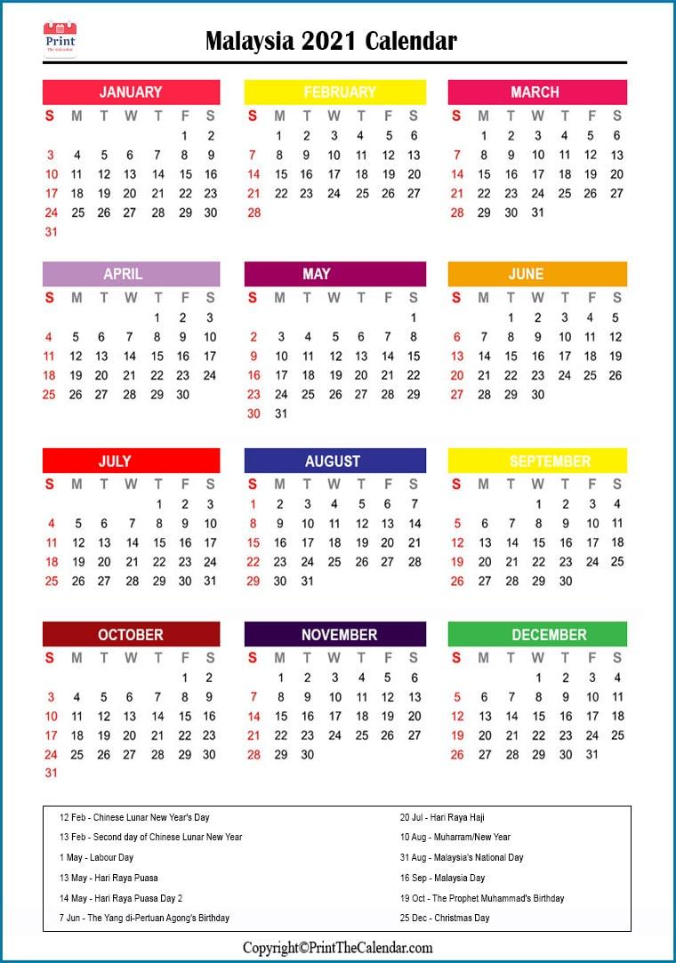 Malaysia Holidays 2021 2021 Calendar with Malaysia Holidays