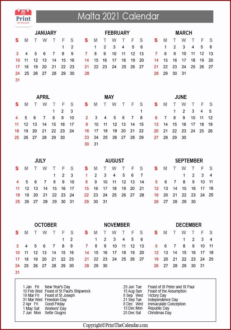 Malta Holidays 2021 2021 Calendar with Malta Holidays