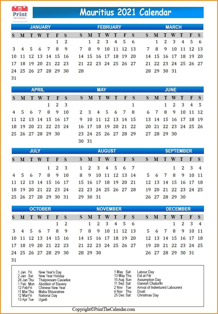 2021 Holiday Calendar Mauritius Mauritius 2021 Holidays Check mauritius public holidays for the calendar year 2021. 2021 holiday calendar mauritius