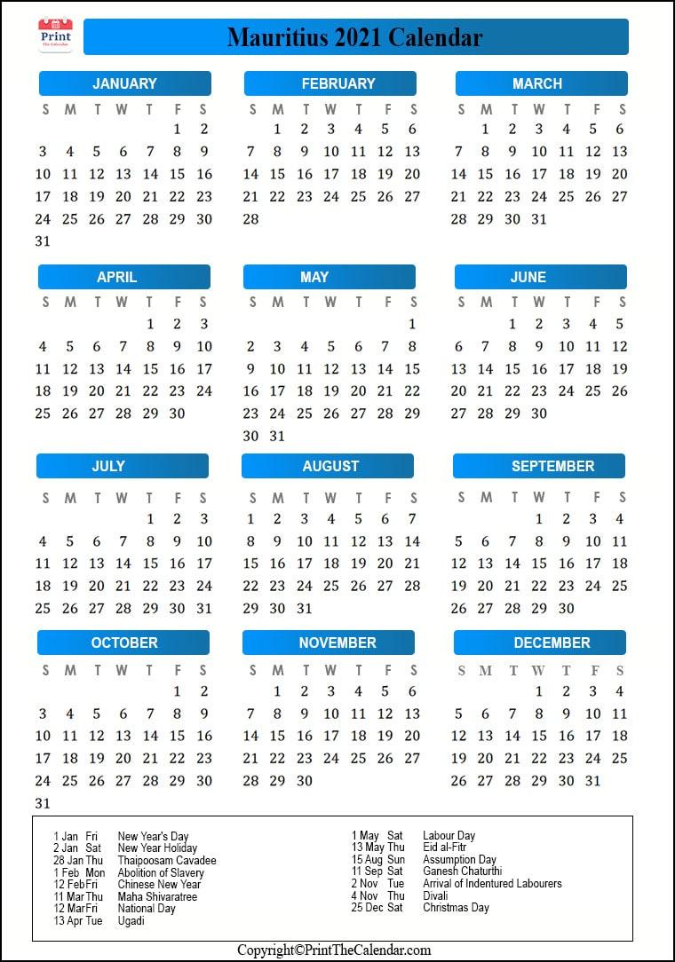 2021 Holiday Calendar Mauritius | Mauritius 2021 Holidays