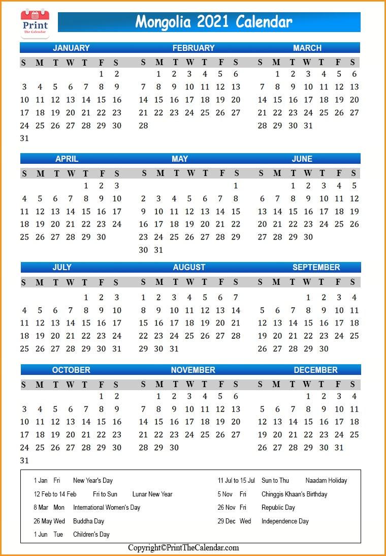 International Holiday Calendar 2021 2021 Holiday Calendar Mongolia   Mongolia 2021 Holidays