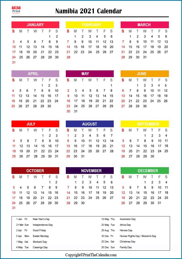 2021 Holiday Calendar Namibia | Namibia 2021 Holidays
