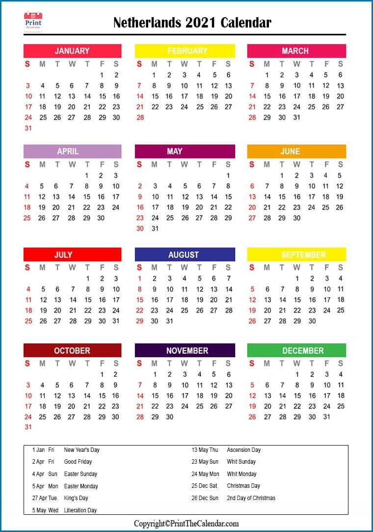 Netherlands Holidays 2021 2021 Calendar With Netherlands Holidays