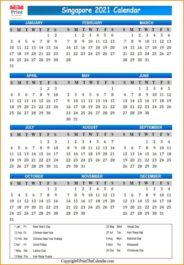 Singapore Holidays 2021 [2021 Calendar with Singapore ...