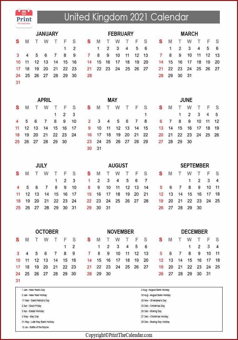 Uk Holidays 2021 2021 Calendar with Uk Holidays