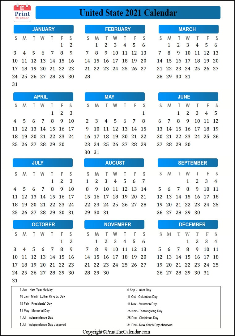 Us Public Holidays 2021