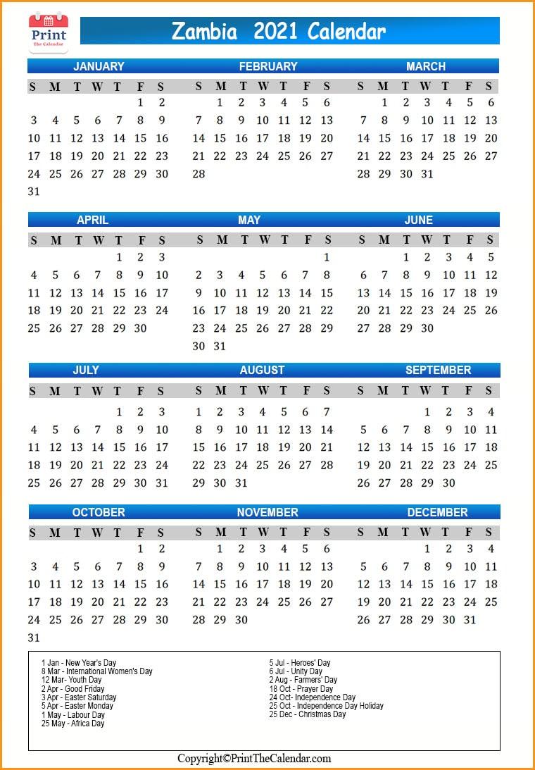 Zambia Holidays 2021 2021 Calendar with Zambia Holidays