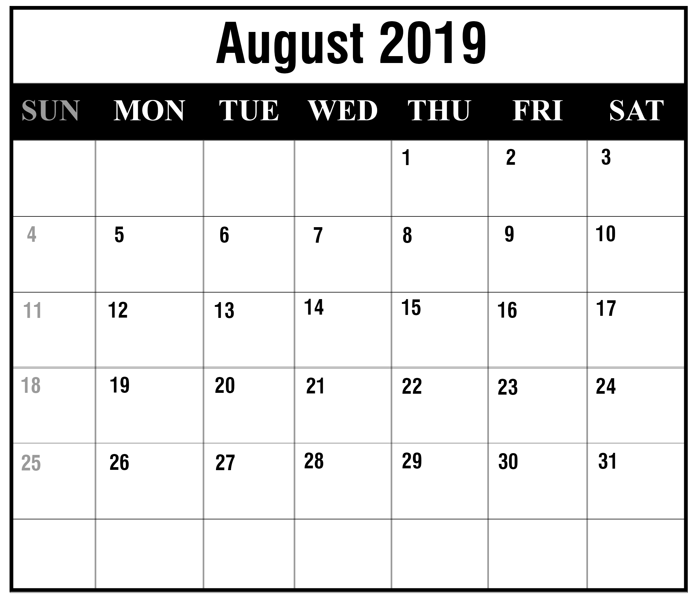 image about Printable Calendar Template named August 2019 Calendar Printable August Blank Calendar Template
