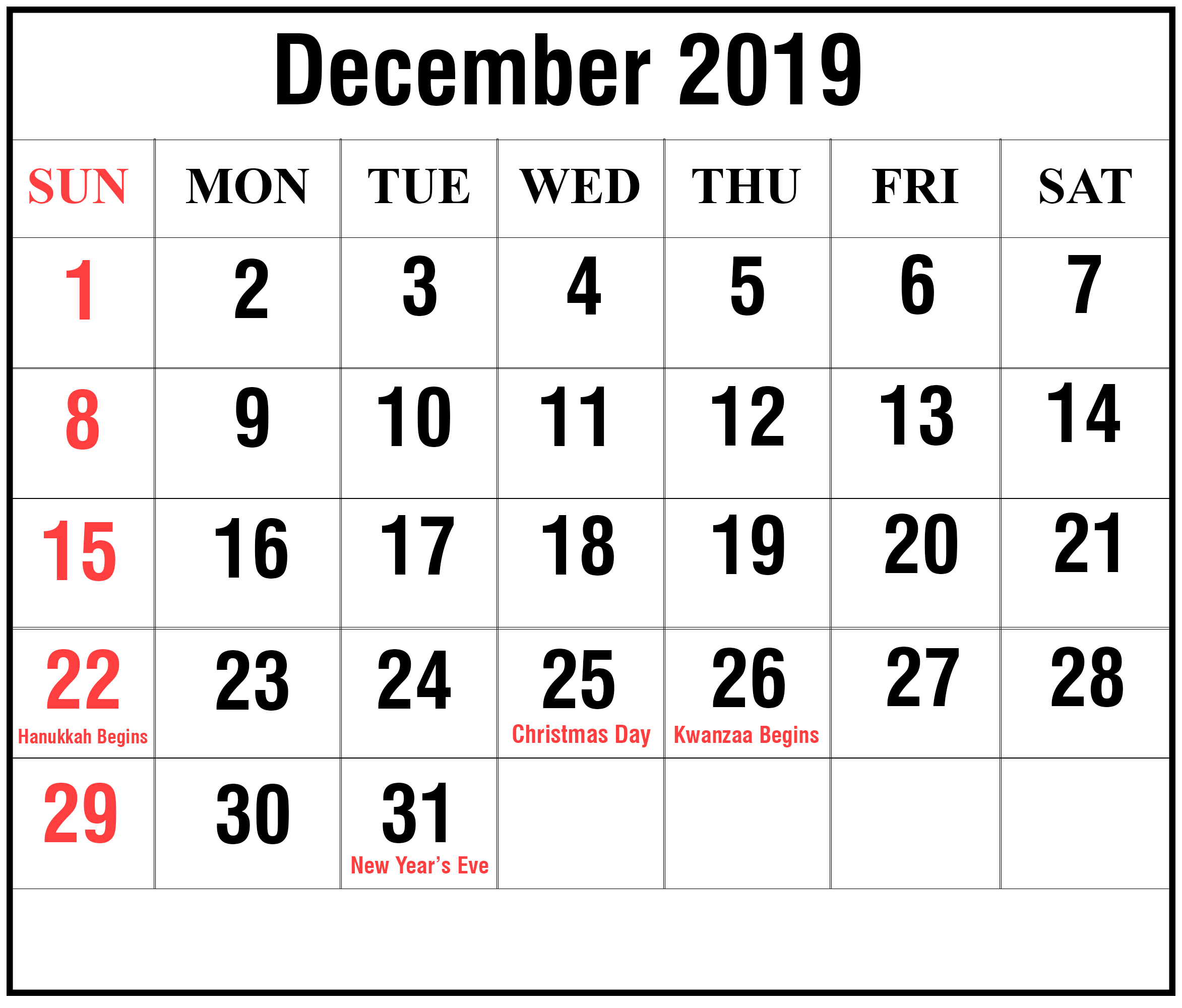 photo relating to Printable December Calendar referred to as December 2019 Calendar Printable December Blank Calendar
