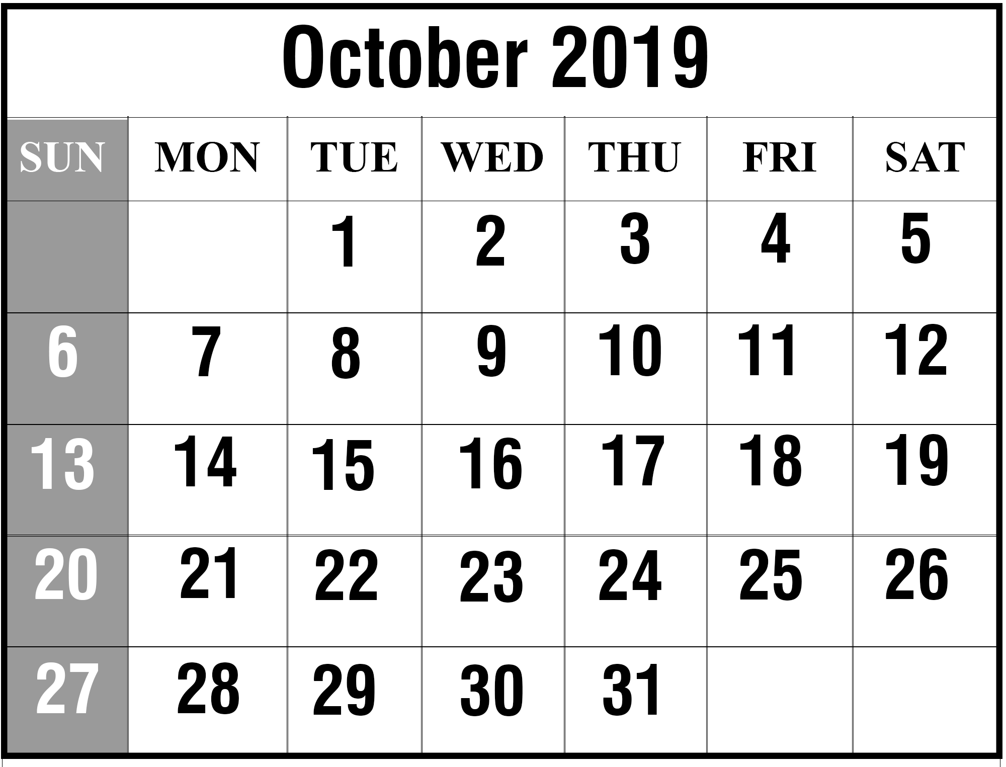 graphic relating to October Calendar Printable called Oct 2019 Calendar Printable Oct Blank Calendar