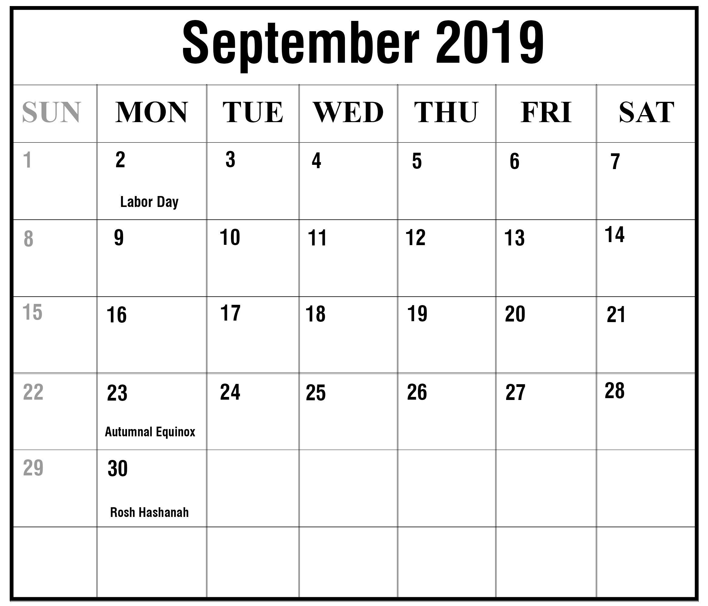 Month September Calendar in Year 2019