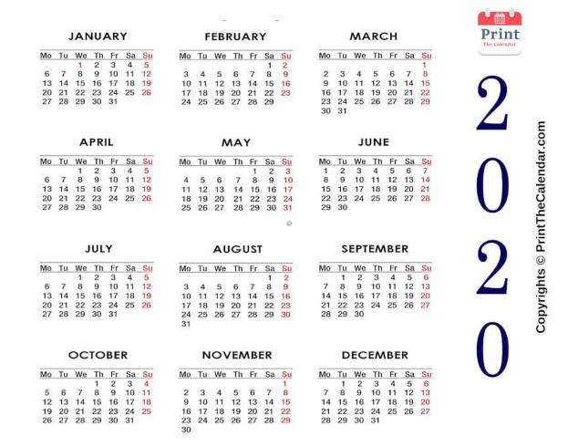 picture about 2020 Calendar Printable Pdf known as 2020 Calendar Printable No cost Each year Calendar 2020 PDF