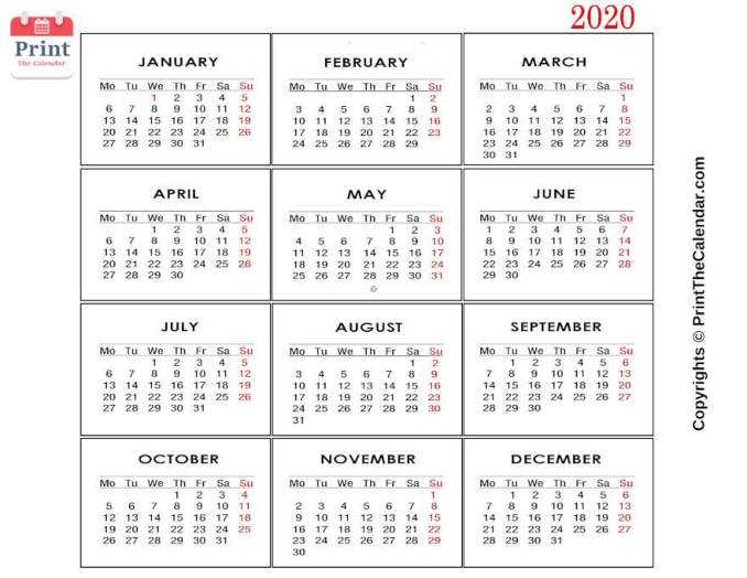 2020 Printable Yearly Calendar.Free Printable 2020 Calendar Templates